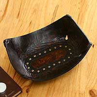 Leather catchall, 'Essential' (10.75 inch) - Dark Brown Leather Catchall Crafted in Peru (10.75 inch)