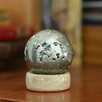 Pyrite sphere, 'Magic' - Pyrite Gemstone Sculpture and Calcite Base