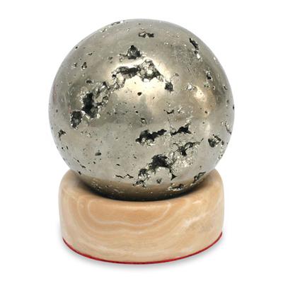 Pyrite sphere, 'Magic' - Pyrite Gemstone Sculpture and Calcite Base