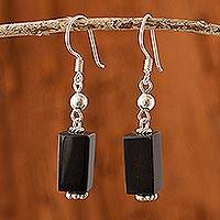 Obsidian dangle earrings, 'Mystery' - Obsidian dangle earrings