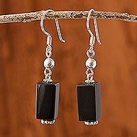 Obsidian dangle earrings, 'Mystery'