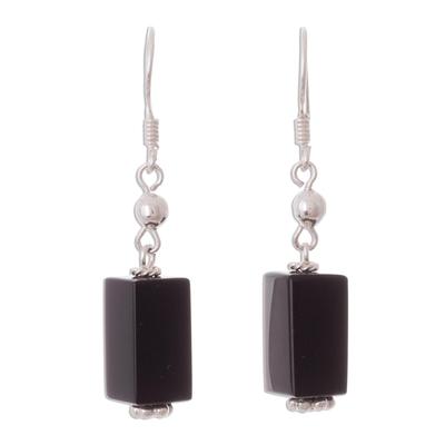 Sleek Black Obsidian Dangle Earrings from the Andes