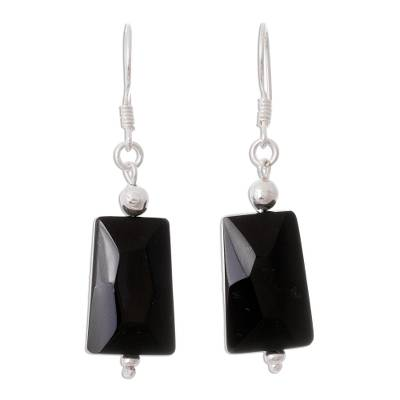 Modern Andean Obsidian Dangle Earrings in 950 Silver
