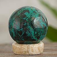 Chrysocolla sphere, 'Serenity' - Crafted Chrysocolla Geometric Sculpture with Calcite Base