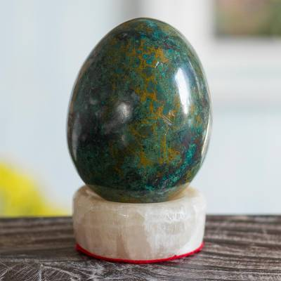 Chrysocolla sculpture, 'Green Sea' - Hand Crafted Chrysocolla Egg Sculpture and Calcite Base