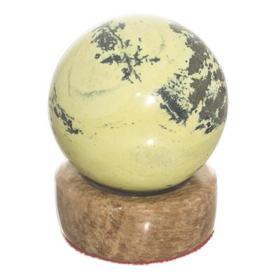 Serpentine sphere, 'World of Nature' - Unique Serpentine Sphere Health Sculpture