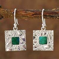 Chrysocolla dangle earrings, 'Skylight' - Modern Sterling Silver and Chrysocolla Dangle Earrings
