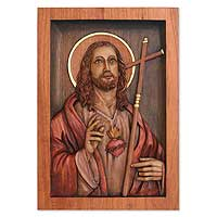 Cedar relief panel, 'Jesus Sacred Heart'
