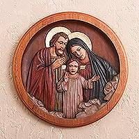 Cedar relief panel, 'Loving Holy Family' - Cedar relief panel