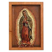 Cedar relief panel, 'Our Lady of Guadalupe' - Religious Christianity Wood Relief Panel for the Wall