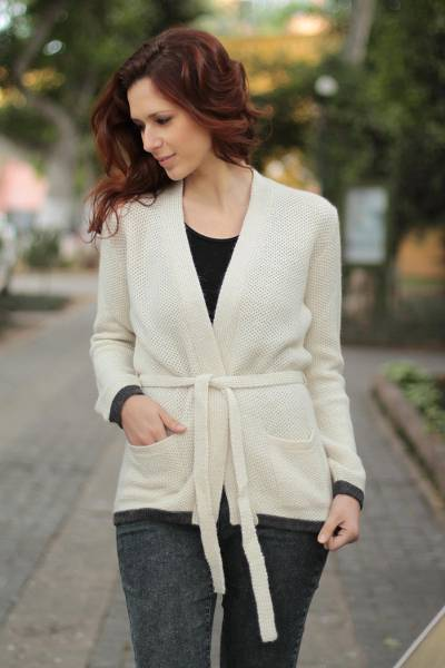 Alpaca cardigan sweater, 'Wrapped to Go' - Alpaca cardigan sweater