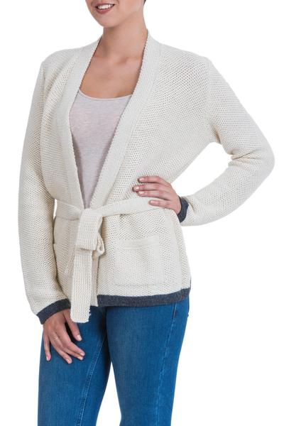 Alpaca cardigan sweater, 'Wrapped to Go' - Alpaca cardigan sweater