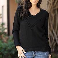 Alpaca blend sweater, 'Grace' - Alpaca Blend Black Wool Sweater