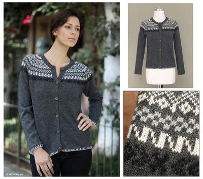 Alpaca blend sweater, 'Junin Elegance' - Peruvian Alpaca Wool Cardigan Sweater
