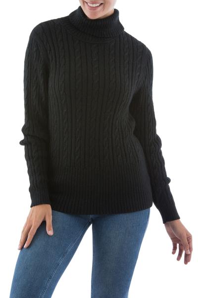 Alpaca blend sweater, 'Midnight Warmth' - Alpaca Wool Blend Pullover Sweater