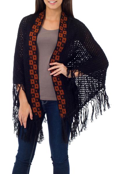 100% alpaca shawl, 'Boheme' - Fair Trade Womens Alpaca Wool Fringed Knit Wrap Shawl