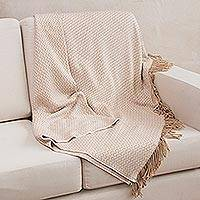 Throw, 'Nutmeg Waves' - Geometric Alpaca Wool Blend Beige Blanket and Throw