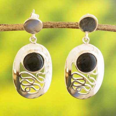 Obsidian dangle earrings, 'Magic Path' - Peruvian Sterling Silver Dangle Obsidian Earrings