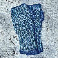 Alpaca blend fingerless mitts, 'Turquoise Honeycomb' - Alpaca blend fingerless mitts