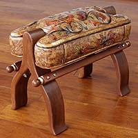 Wood and leather stool, 'Golden Paradise'