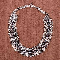 Pearl choker, 'Princess Lace' - Unique Fine Silver Pearl Statement Necklace