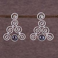 Pearl drop earrings, 'Princess Lace' - Pearl drop earrings