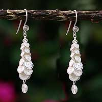 Silver cluster earrings, 'Spiral' - Hand Crafted Fine Silver Earrings from Peru