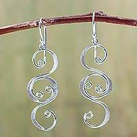 Silver dangle earrings, 'Sweet Sonnet' - Handmade Fine Silver Dangle Earrings
