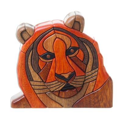 Wood sculpture, 'Young Tiger' - Collectible Wood Carving Wild Tiger Sculpture