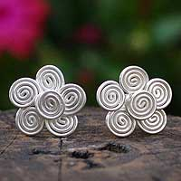 Silver button earrings, 'Rose of the Wind' - Silver button earrings