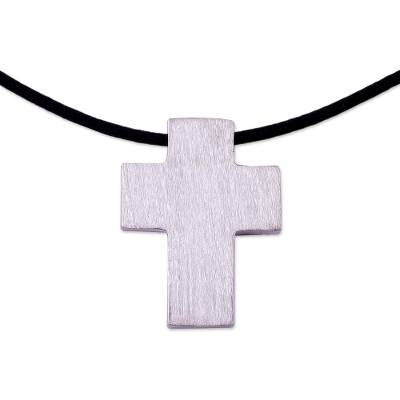 Men's leather necklace, 'Southern Cross' - Men's Peruvian Cross Fine Silver Cord Necklace