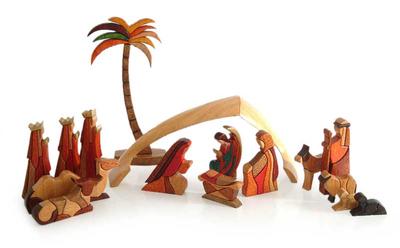 Wood nativity scene, 'Petite Christmas' (set of 17) - Nativity Scene 17pc Carved Wood Sculpture Set