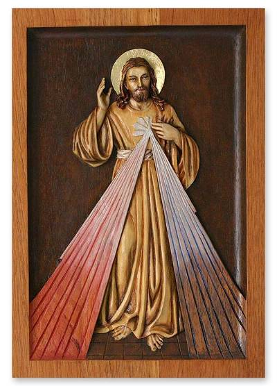 Cedar relief panel, 'Our Lord of Mercy' - Cedar relief panel