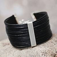 Leather cuff bracelet, 'Hug Me' - Handcrafted Peruvian Leather Bracelet