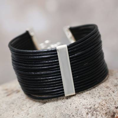 Leather cuff bracelet, 'Hug Me' - Fair Trade Peruvian Leather Cuff Bracelet