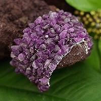 Beaded Cuff Amethyst Bracelet 'Violets' (Peru)