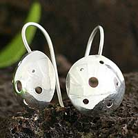Silver drop earrings, 'Wild Mushroom' - Silver drop earrings