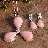 Opal jewelry set, 'Rose Clover' - Opal jewelry set