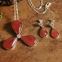 Rhodochrosite jewelry set, 'Bright Clover' - Stunning Rhodochrosite Pendant and Earrings
