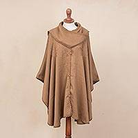 Alpaca blend cape with scarf, 'Desert Autumn' - Alpaca blend cape with scarf