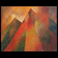 'Perpetual Pyramids' - Cubist Oil Painting