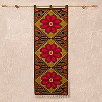 Wool tapestry, 'Beautiful Andean Flower' - Fair Trade Floral Wool Tapestry