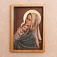 Cedar relief panel, 'Young Madonna'