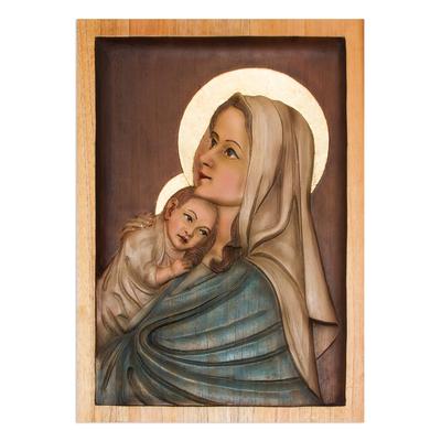 Cedar relief panel, 'Young Madonna' - Cedar relief panel