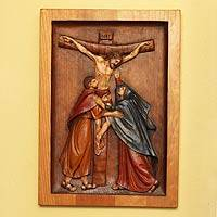 Cedar relief panel, 'Jesus on the Cross' - Cedar relief panel