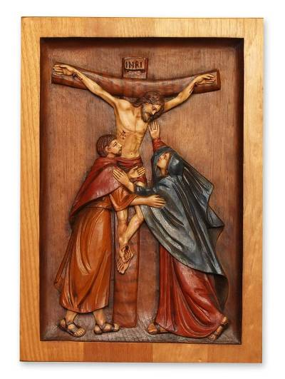 Cedar relief panel, 'Jesus on the Cross' - Cedar relief panel
