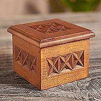 Cedar box, 'Star' - Peru Hand Carved Cedar Decorative Box