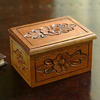 Cedar box, 'Secrets' - Floral Cedar Wood Decorative Box