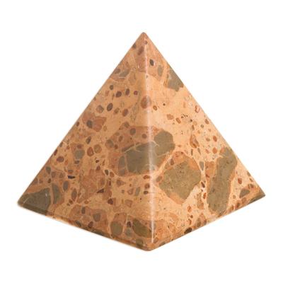 Leopard jasper pyramid, 'Fortress' - Hand Made Leopard Jasper Gemstone Pyramid Sculpture