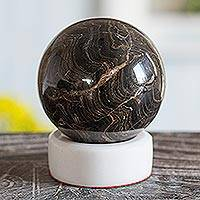 Stromatolite sphere, 'Pluto' - Stromatolite and Calcite Geometric Sculpture
